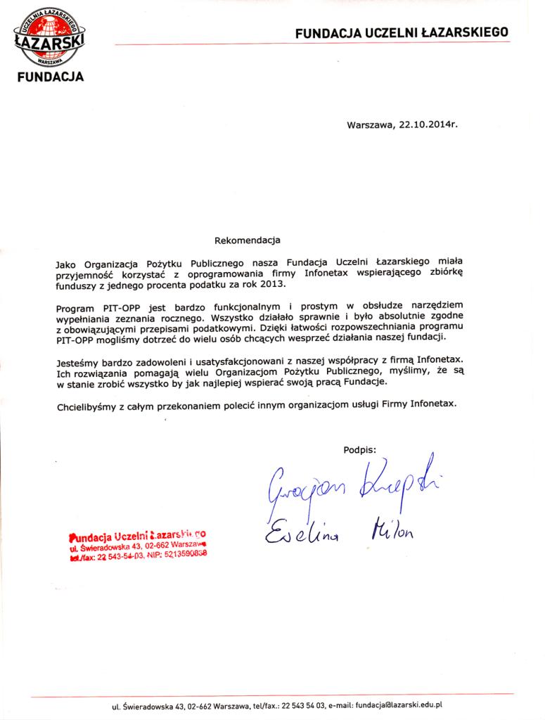 Fundacja uczelni Łazarskiego